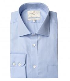 Мужская рубашка, ткань твил, классическая, манжеты на пуговицах