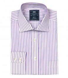 Мужская классическая рубашка Ludlow в среднюю полоску, цвет белый с сиреневым, с карманом