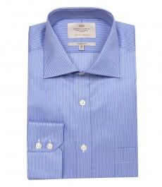 Мужская классическая рубашка Ludlow, цвет лиловые & белые тонкие полоски, с карманом