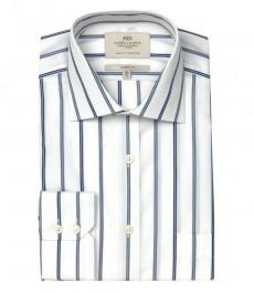 Мужская классическая рубашка Ludlow, цвет белый с тёмно-синей полоской, с карманом