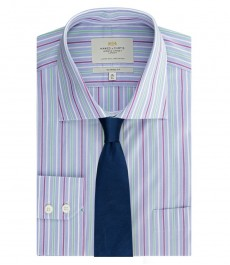 Мужская рубашка, классического кроя, голубая в фиолетовую полоску с карманом - легко гладится