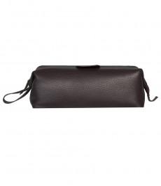 Мужская роскошная чёрная кожаная сумочка
