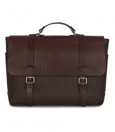 Мужская кожаная сумка, коричневая