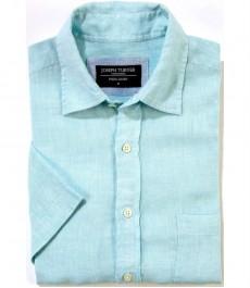 100% льняная рубашка Joseph Turner морского цвета с коротким рукавом