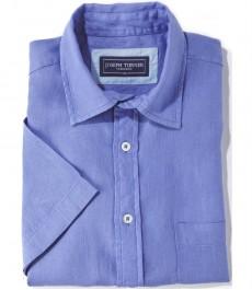 100% льняная рубашка Joseph Turner синего морского цвета с коротким рукавом