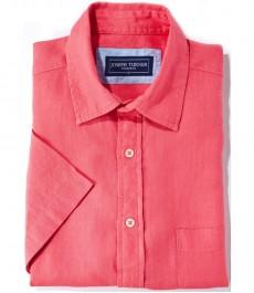 100% льняная рубашка Joseph Turner кораллового цвета с коротким рукавом