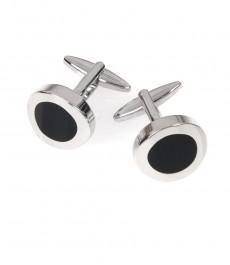 Мужские серебряные с чёрным круглые классические запонки