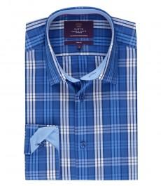 Мужская приталенная рубашка, в голубую с белым клетку.