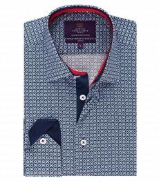Мужская модная приталенная рубашка Curtis, тёмно-синий цветочный принт - под пуговицу