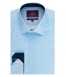 Мужская приталенная рубашка, голубая, геометрический принт - манжеты на пуговицах