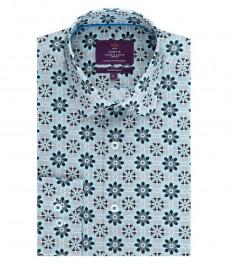 Мужская приталенная рубашка, серая в голубой геометрический принт - манжеты на пуговицах