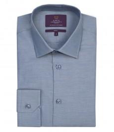 Мужская приталенная рубашка, темно-синяя 100% хлопок