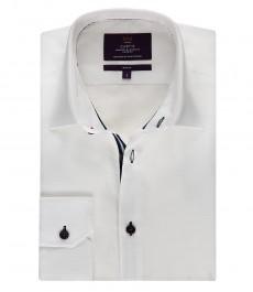 Мужская белая рубашка, приталенная - манжеты на пуговицах