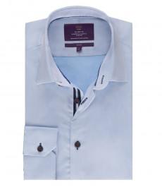 Мужская рубашка, светло-голубая, узко-приталенная - манжеты на пуговицах