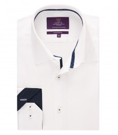 Мужская приталенная рубашка, белая - манжеты на пуговицах