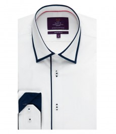 Men's Curtis White Poplin Slim Fit Shirt with Contrast Detail - Single Cuff