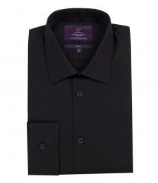 Мужская приталенная черная рубашка, однотонная, ткань поплин, хлопок - манжеты на пуговицах
