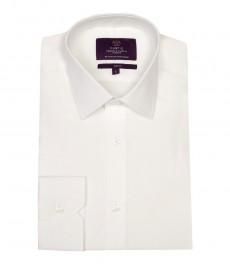 Мужская белая приталенная рубашка из высококачественного хлопка, ткань поплин