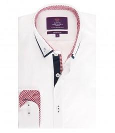 Мужская приталенная рубашка, белая поплин