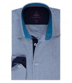 Мужская рубашка, голубая, в полоску, приталенная