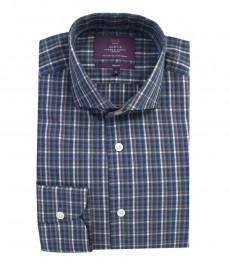 Мужская приталенная рубашка, темно-синяя в белую клетку, манжеты на пуговицах