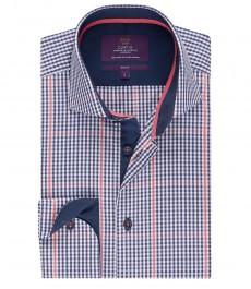 Мужская рубашка, темно-синяя в оранжевую клетку, приталенная