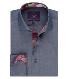 Мужская рубашка, голубая  приталенная - манжеты на пуговицах