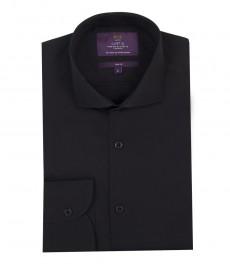 Роскошная однотонная гладкотканная черная мужская приталенная рубашка