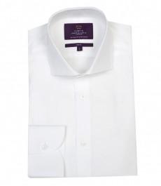 Мужская белая рубашка, поплин, приталенная-срезанный воротник.