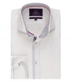 Мужская приталенная белая хлопковая рубашка - стильная с контрастными деталями