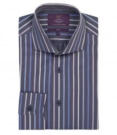 Мужская приталенная рубашка, темно-синяя в мульти полоску, манжеты на пуговицах, 100% хлопок