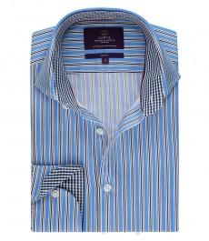 Мужская модная приталенная рубашка в тёмно-синюю и голубую мульти-полоску