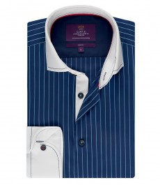 Мужская рубашка, темно-синяя в полоску, приталенная