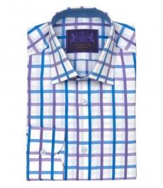 Мужская приталенная рубашка Mayfair , голубые и лиловые крупные клетки на белом фоне, округлая манжета