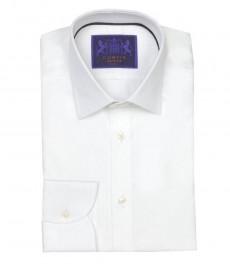 Мужская приталенная белая рубашка Mayfair c белой полоской, округлая манжета