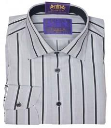 Мужская приталенная рубашка Mayfair, тёмно-синяя широкая полоска, округлая манжета