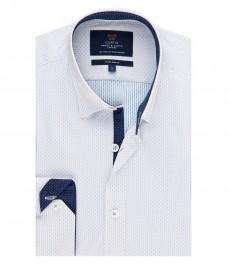 Мужская экстраприталенная рубашка, белая, светло-голубой рисунок Dobby - манжеты на пуговицах