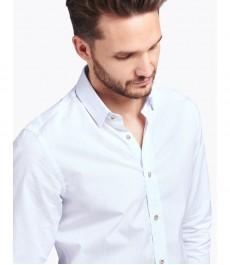 Мужская экстраприталенная рубашка, белая, голубой дизайн - манжеты на пуговицах