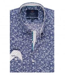 Мужская экстраприталенная рубашка, голубая, дизайн белая листва - манжеты на пуговицах
