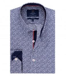 Мужская экстраприталенная рубашка, темно-синяя, дизайн белая листва - манжеты на пуговицах