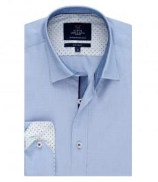 Мужская рубашка, голубая текстурированная ткань, экстраприталенная - манжеты на пуговицах
