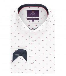 Мужская приталенная рубашка, белая в разноцветную точку - высокий воротник