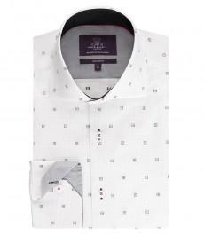 Мужская приталенная рубашка, белая в серый принт - высокий воротник