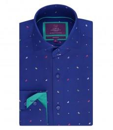 Мужская приталенная рубашка, голубая в мелкий принт дизайн - высокий воротник
