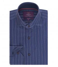Мужская приталенная рубашка, темно-синяя в мелкий принт - высокий воротник