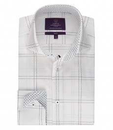 Мужская модная приталенная рубашка Curtis белая с чёрной широкой клеткой - высокий воротник