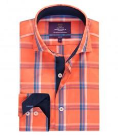 Мужская рубашка, оранжевая в среднюю мелкую клетку, приталенная - высокий воротник