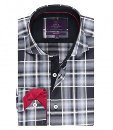 Мужская приталенная рубашка, черная в белую клетку - высокий воротник