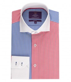 Мужская приталенная рубашка, голубая в красную клетку - высокий воротник - манжеты на пуговицах