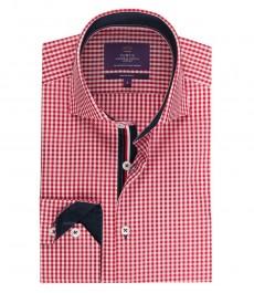 Мужская приталенная рубашка, красная в белую клетку - высокий воротник - манжеты на пуговицах